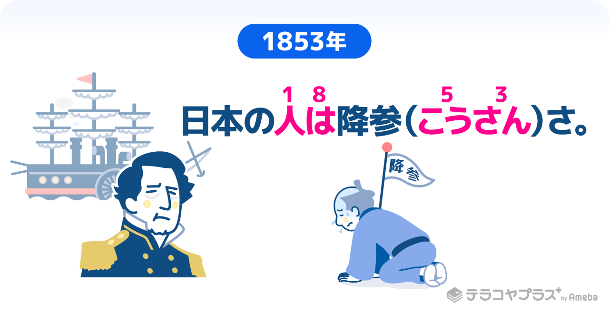 日本人がペリーに降参をしているイラスト画像