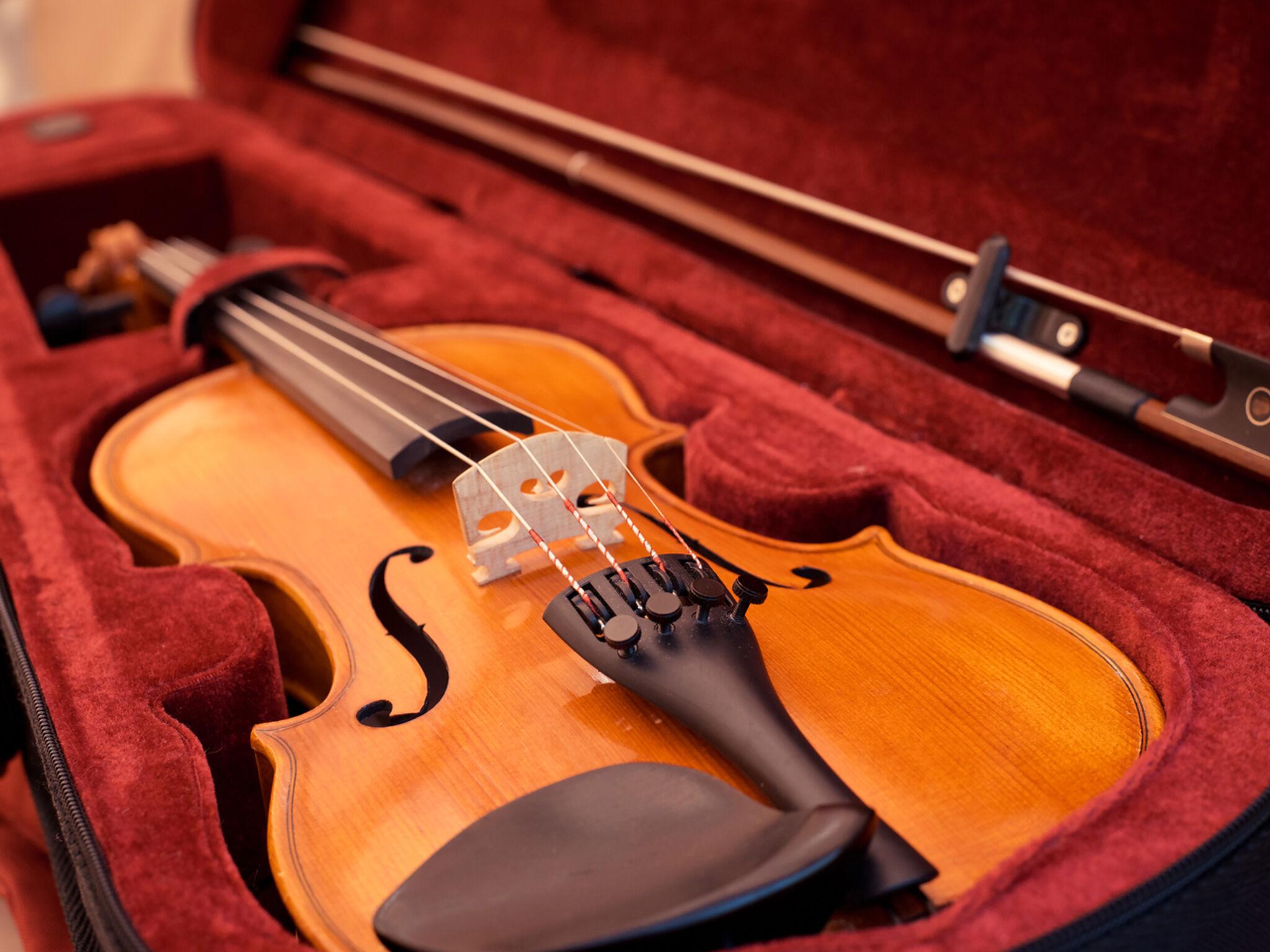 ケースに入ったヴァイオリンのアップ画像