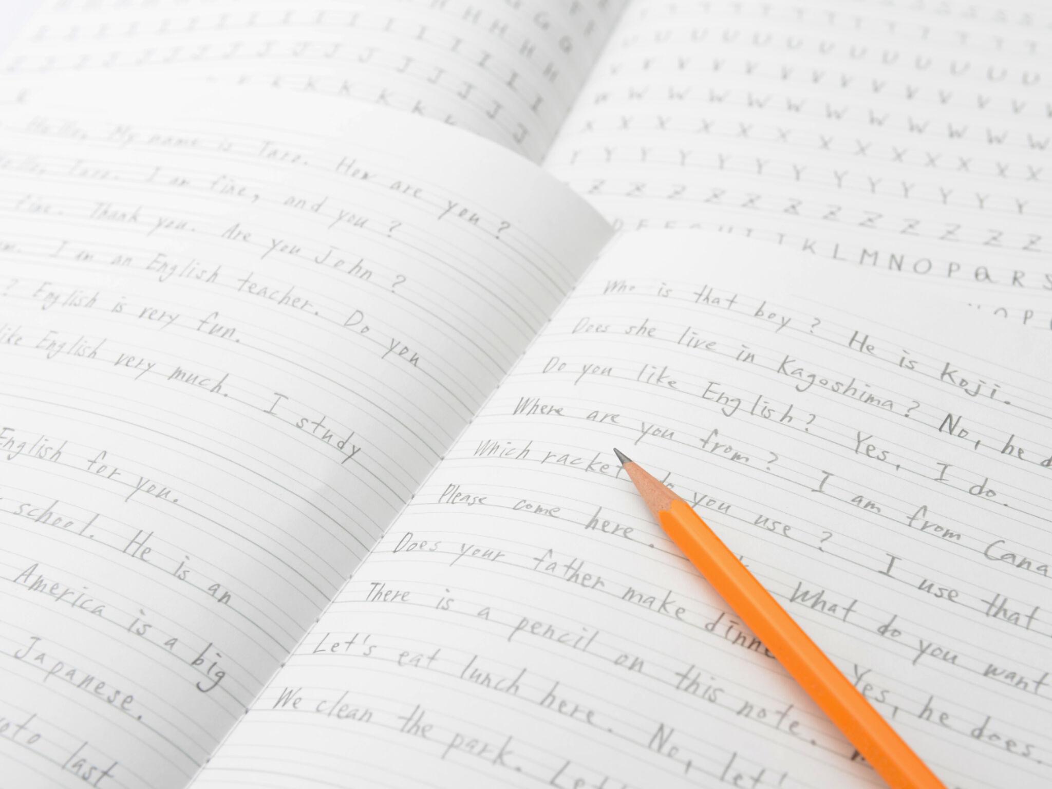 英作文が書いてあるノートの画像